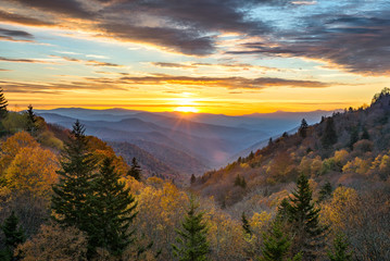 scenic sunrise, great smoky mountains, tennessee Wall mural