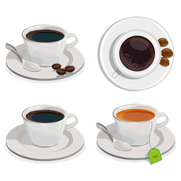Set of a cup of coffee and tea