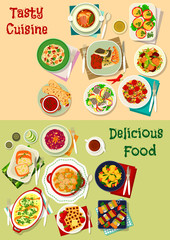 French, mexican, russian cuisine dishes icon set