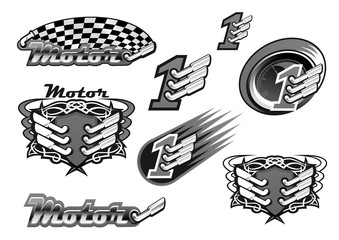 Car or motor racing vector icons