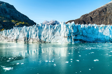 Wall Murals Glaciers Alaska Glacier Bay landscape view from cruise ship holiday travel. Global warming and climate change concept with melting glacier with Johns Hopkins Glacier and Mount Fairweather Range mountains.