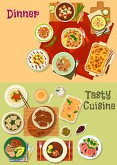 Restaurant dinner dishes icon for menu design