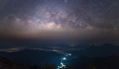 The beautiful Milky Way in the starry night over the landscape of the countryside of Thailand.