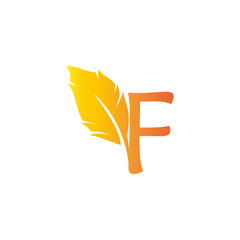 F letter with quill stock logo design