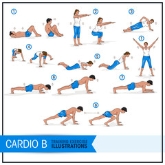 Training Exercise Vector Illustrations - Cardio