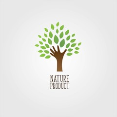Natural Product Icon Hand Tree