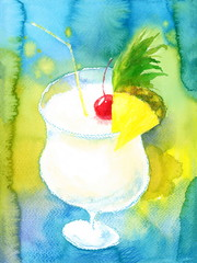 Watercolor Cocktail Drink Pina Colada with Cherry and Pineapple Slice Hand Painted Beverage Illustration