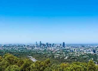 The panoramic view of Brisbane from Mt-Coo-tha Lookout, Queensland, Australia