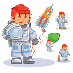 Vector icon of small child astronaut in a space suit and helmet in hand and his toy rocket. Design element, print for t-shirt