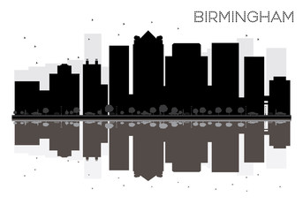 Birmingham City skyline black and white silhouette with reflections.