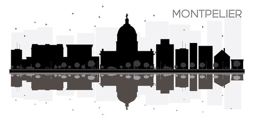 Montpelier City skyline black and white silhouette with reflections.
