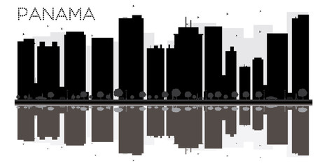 Panama City skyline black and white silhouette with reflections.