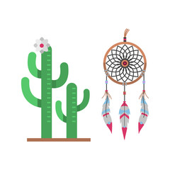 Cactus flat style nature desert flower green cartoon drawing graphic mexican succulent and tropical plant garden art cacti dreamcatcher vector illustration.