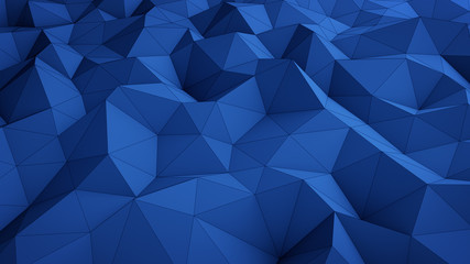 Wavy blue low poly surface abstract 3D rendering