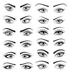 Set Open Beautiful Female Eyes Isolated on White Background