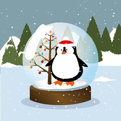 Merry christmas design over landscape background, vector illustration