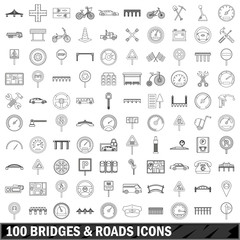 100 bridges and roads icons set, outline style