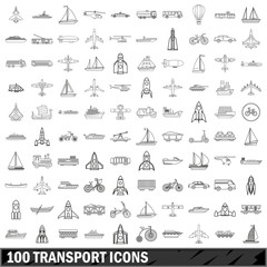 100 transport icons set, outline style