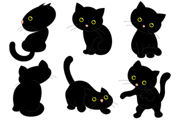 Six Black Cats. Vector Illustration of Six Black Cute Kittens