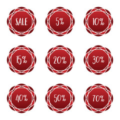 sale percentage red sticker badge label set