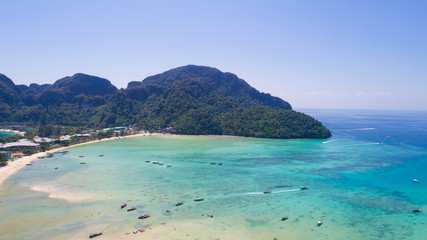 Aerial drone photo of iconic tropical beach and coastline of Phi Phi island, Thailand