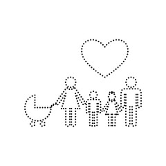 Family sign with heart. Husband and wife are kept children's hands. Vector. Black dotted icon on white background. Isolated.
