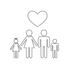 Family symbol with heart. Husband and wife are kept children's hands. Love. Vector. Black dotted icon on white background. Isolated.