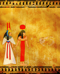 Grunge background with old stucco texture and Egyptian goddess Isis