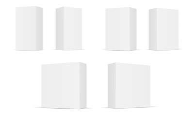Set of white blank rectangular boxes isolated. Cardboard boxes on white background perspective view. Mockup can be used for design, branding cosmetic product or gift. Vector illustration