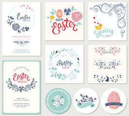 Easter templates with eggs, flowers, floral wreaths and branches, ornate corner swirl, rabbit, chick, banners and typographic design.