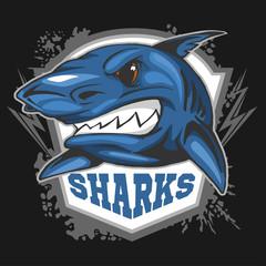 Mascot Sharks - emblem for a sport team.