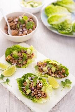 Lettuce larb wraps