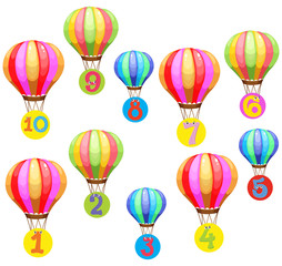 Counting numbers on colorful balloons