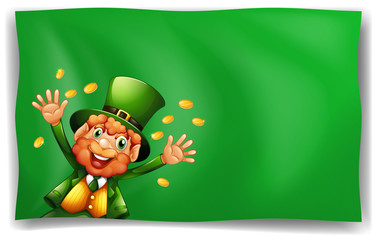 Leprechaun character on green background