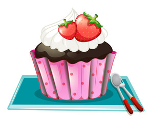 Cupcake with cream and strawberries