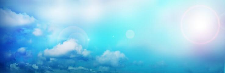 Himmel, Wolken - Hintergrund, Banner - Blendeneffekt, lens flare - Farbverlauf  Blau, Türkis, Weiss