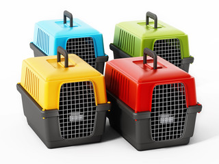 Multi colored pet carriers isolated on white background. 3D illustration