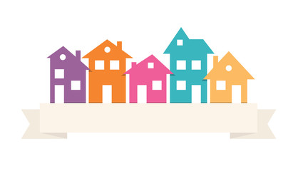 Houses silhouettes vector.  Color residential  buildings logo.