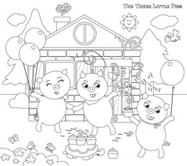 Coloring three little pigs 12: happy ending