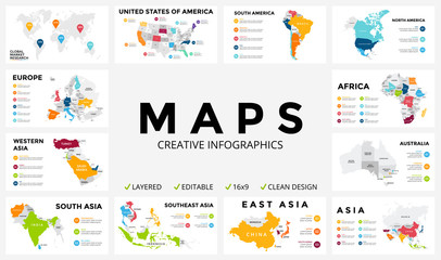 Vector map infographic. Slide presentation. Global business marketing concept. Color country. World transportation geography data. Economic statistic template. World, America, Africa, Europe, Asia Wall mural