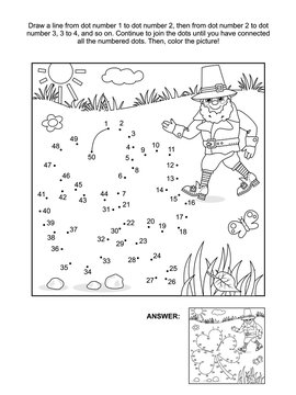 St. Patrick's Day themed connect the dots picture puzzle and coloring page with clover leaf and leprechaun. Answer included.