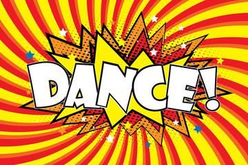 Dance! Comic sound effects in pop art style