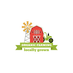 Fresh from the Farm concept logo. Template with farm landscape, windmill. Label for natural farm products. Colorful badge isolated on white background. Vector illustration.