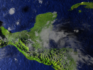 Yucatan on realistic model of Earth