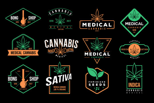 medical cannabis emblems, label, logo set vector template