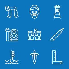 Set of 9 design outline icons
