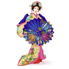 Japan National doll Hina Ningyo in a blue kimono with an umbrella. Umbrella and kimono decorated with a pattern with chrysanthemums. A character in a cartoon style. Vector illustration.