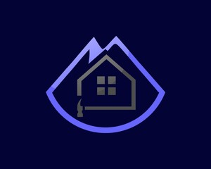 logo home repairs and abstract mountain