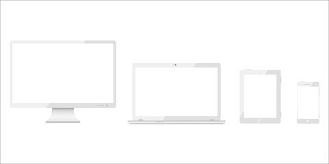 Set of white monitor, laptop, tablet, smartphone, realistic device - stock vector