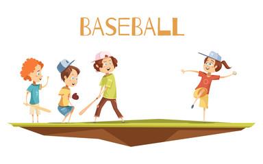Cartoon Kids Playing Baseball Vector Illustration